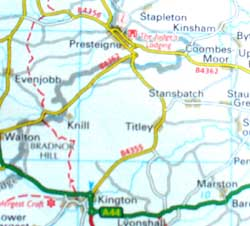 Map of area around Titley Herefordshire